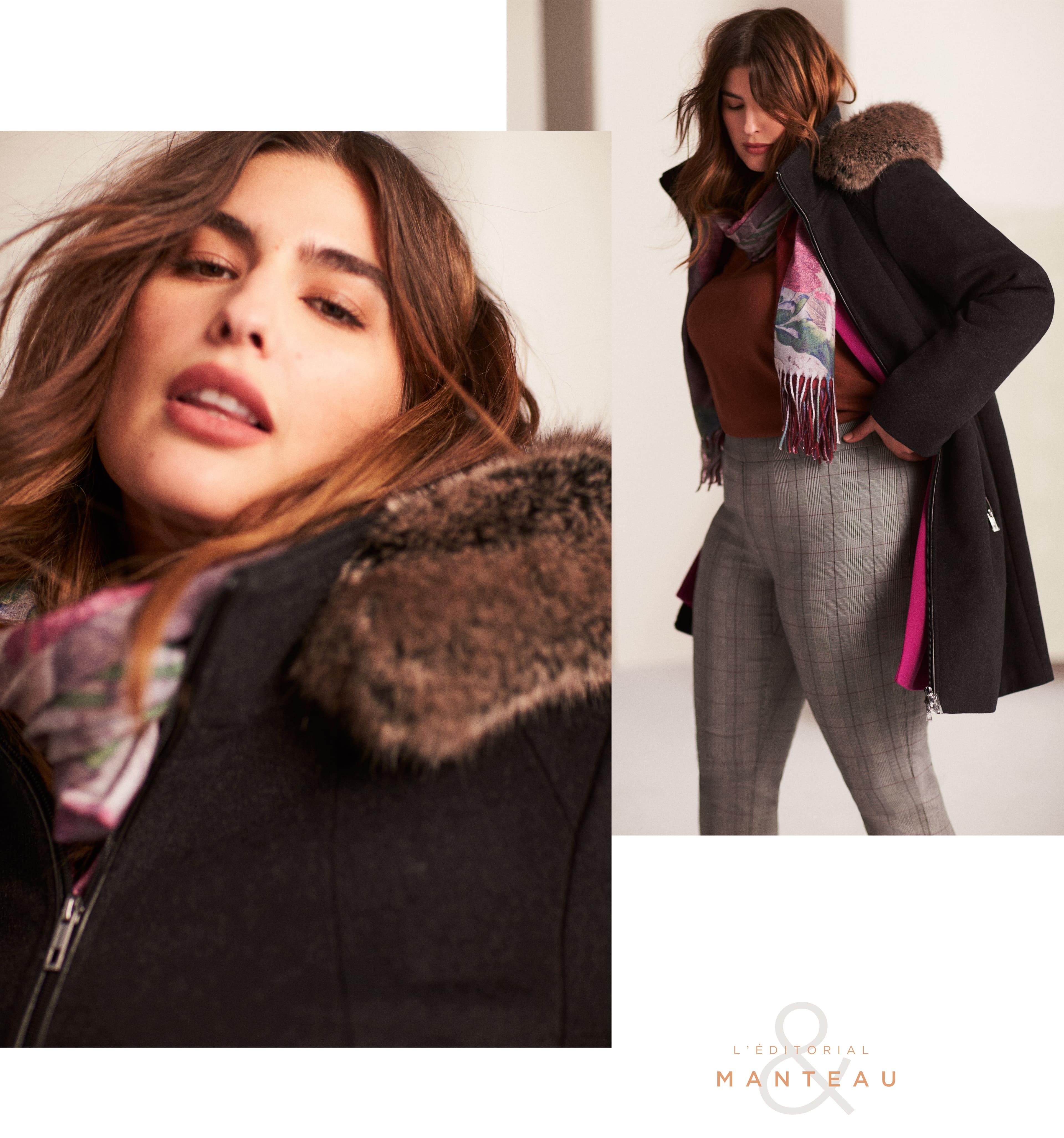 Manteau en laine mélangée et fausse fourrure