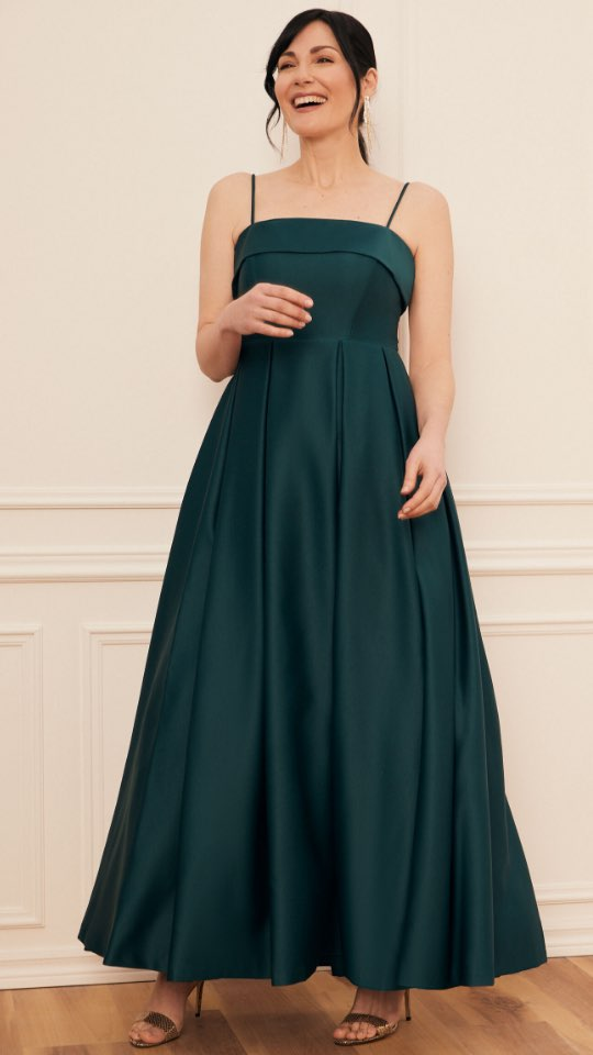 Foldover Satin Ball Gown