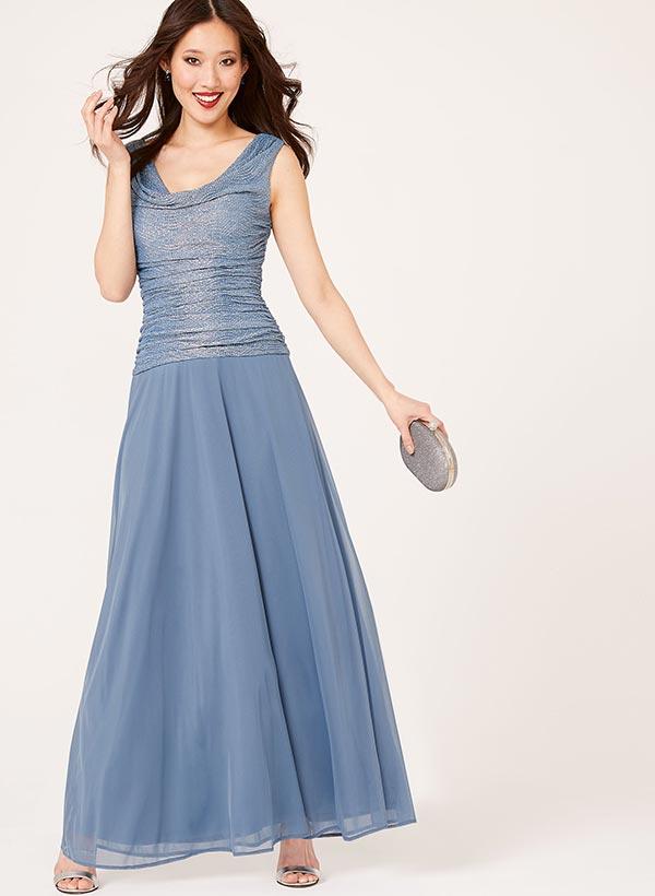 Glitter Chiffon Cowl Neck Gown