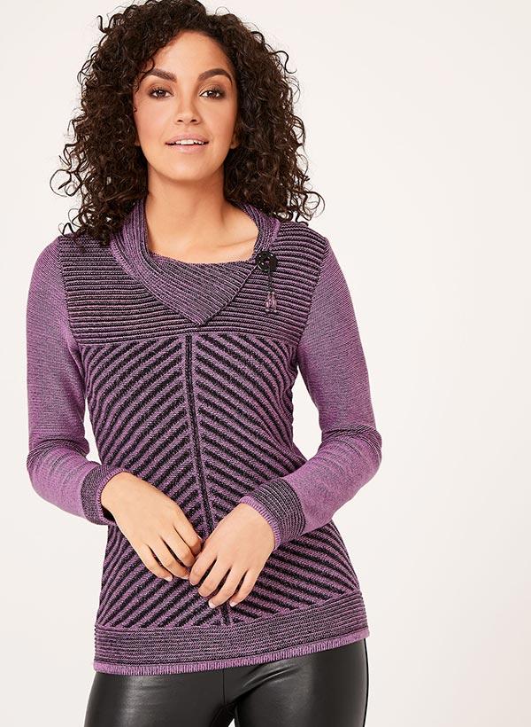 Pull en tricot texturé et col fendu