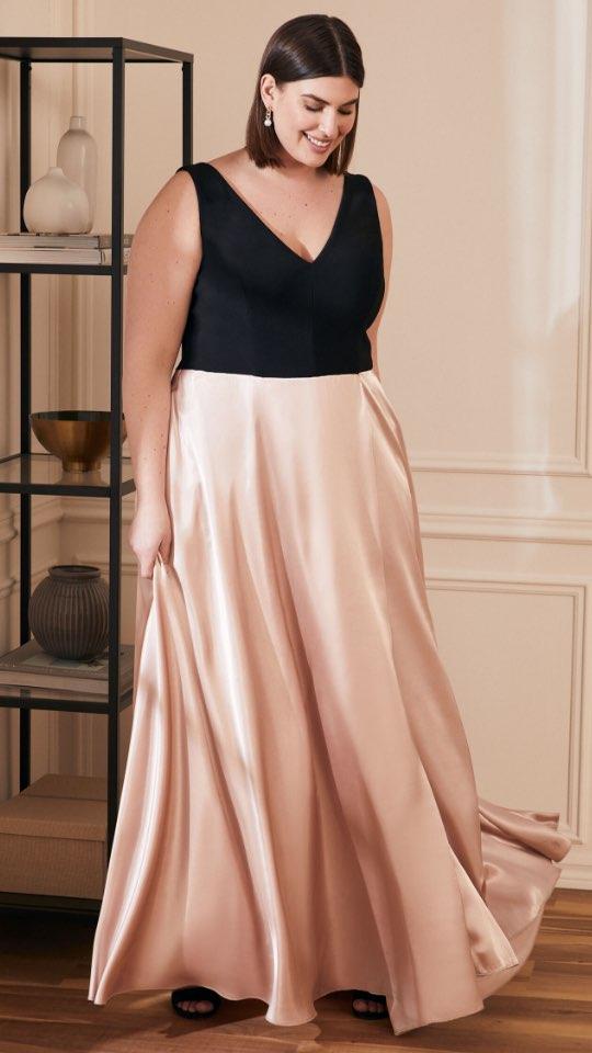 Sleeveless Jersey & Satin Dress