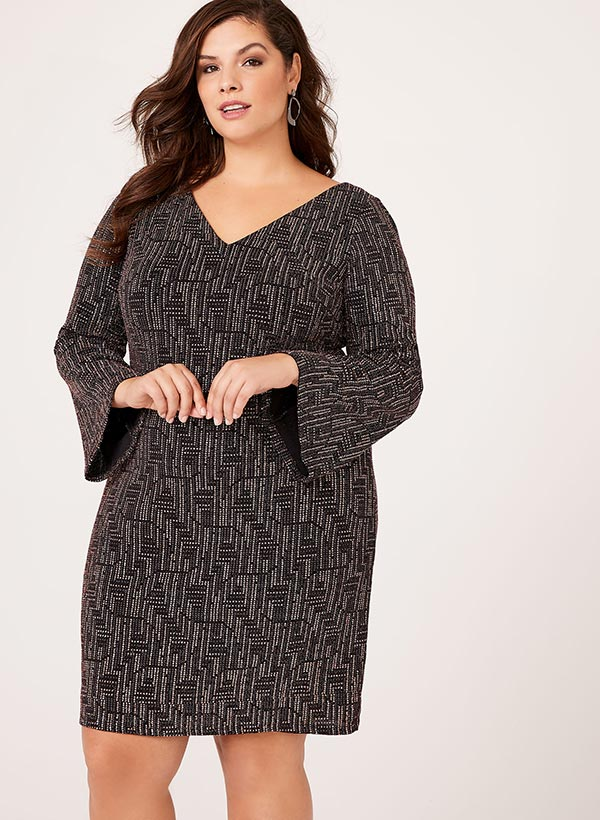 Metallic Bell Sleeve Dress