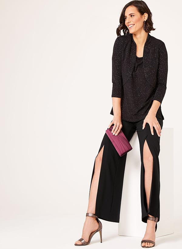 Modern Fit Slit Wide Leg Pants