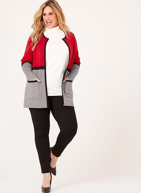 Contrast Double Knit Cardigan