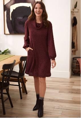 Cowl Neck Rib Knit Dress