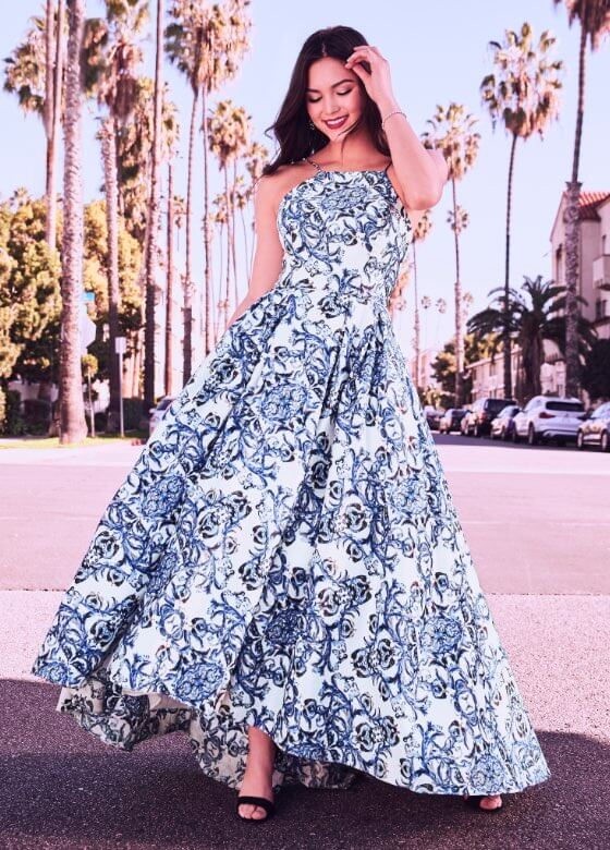Laura - Prom Dresses 2019 - Baroque Print High-Low Ball Gown