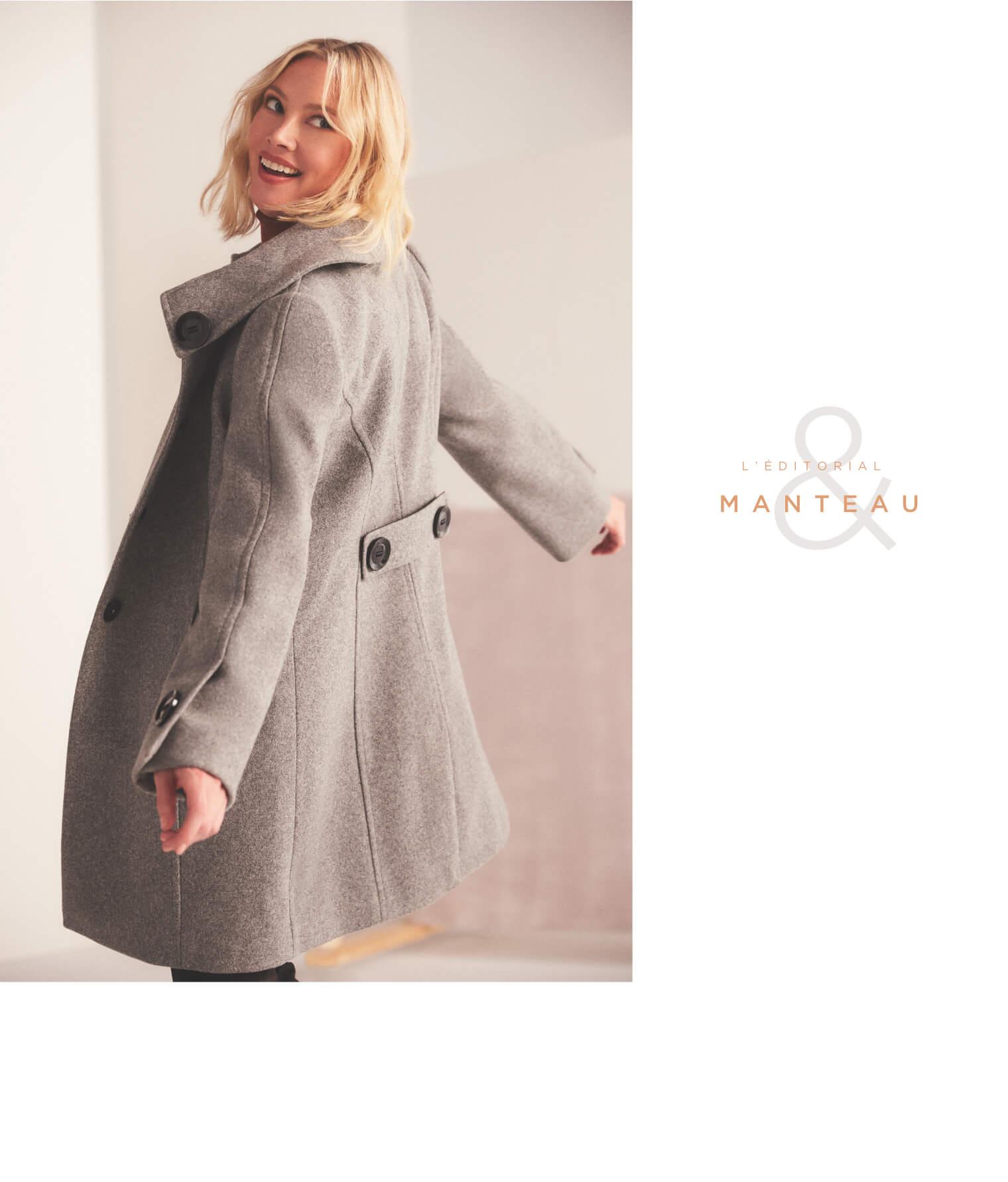 Manteau aspect laine à gros boutons