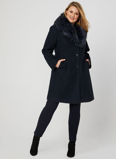 Faux Fur Trim Wool Blend Coat