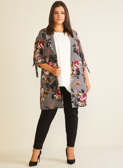 Floral Print Notched Collar Duster