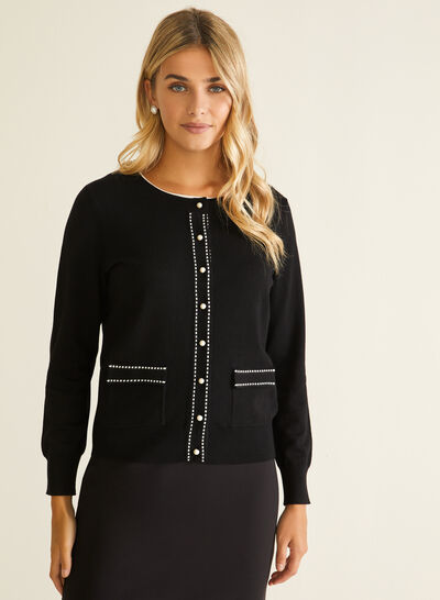 Contrast Detail Button Front Cardigan