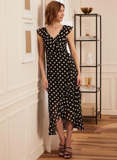 Petites - Polka Dot Faux Wrap Dress