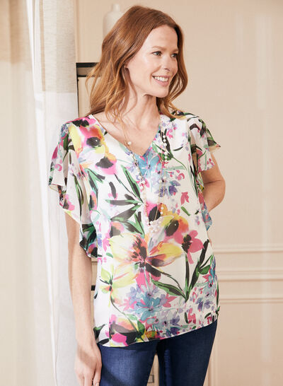 Laura - Floral Print Frill Sleeve Blouse