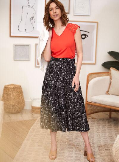 Petites - Dot Print Belted Midi Skirt