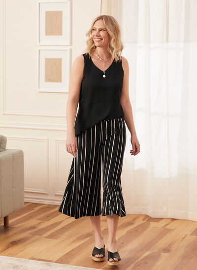 Laura - Stripe Print Wide Leg Capris