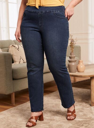Plus - Jeans à enfiler à jambe droite