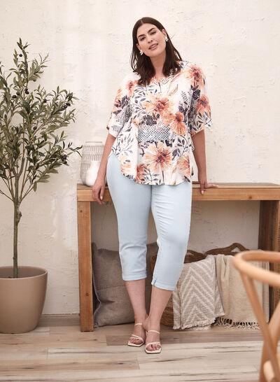 Plus - T-shirt floral à détails en dentelle
